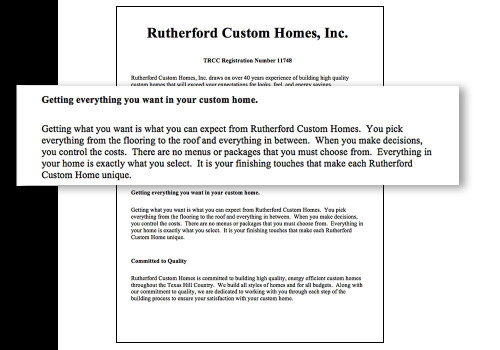 Ruterford Custom Homes' website false advertising