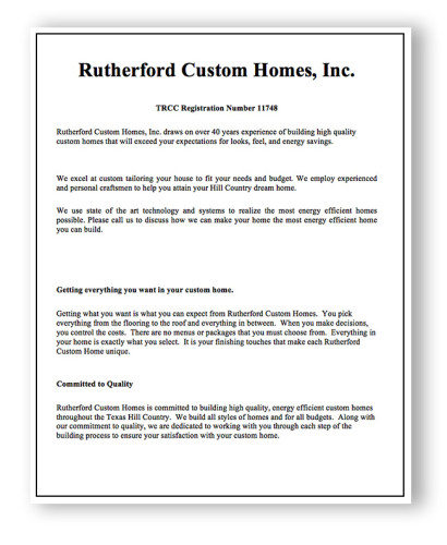 Rutherford Custom Homes' false advertising