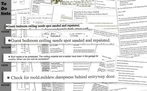 Builder ignored signs of roof leaks, To Do list items