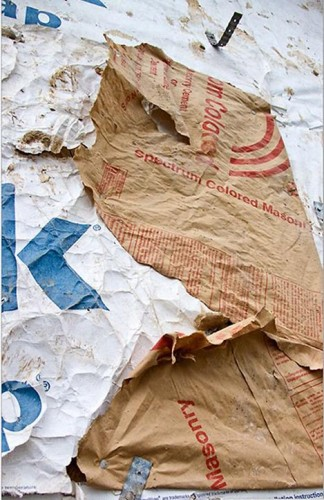 Paper bag used as Rutherford Custom Homes' moisture barrier