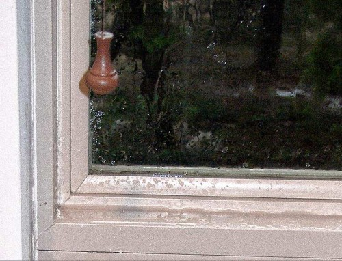 Rain through one of Rutherford Custom Home's unsealed windows