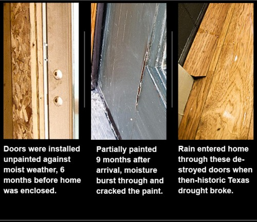 Unprepared doors subjected to moisture