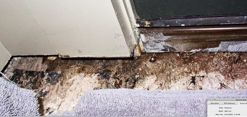 Rutherford Custom Homes' leaking door at balcony.