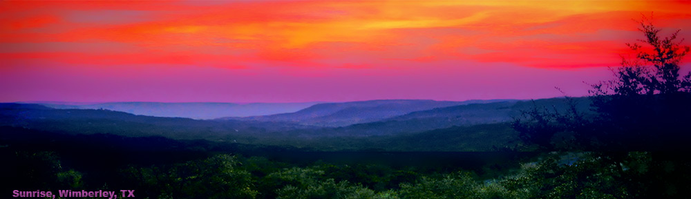 Hill Country sunrise, Wimberley, TX, at ourdreamhomenightmare.com
