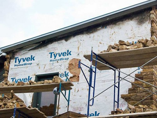 Rutherford Custom Homes' Tyvek Home Wrap hole was covered with a paper bag