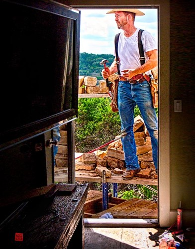 David Giles, owner, Crossbow Construction, Inc. fixes Hill Country balcony