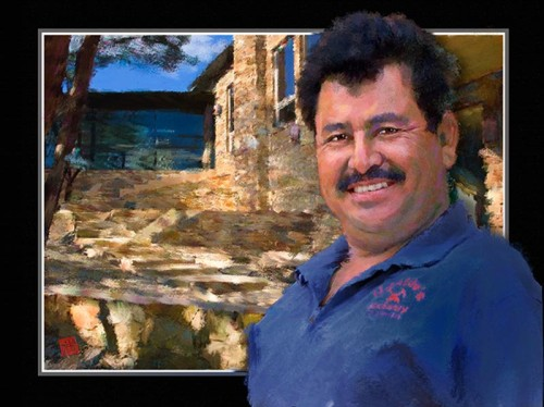 Ugalde's Masonry of San Marcos, owner Gabriel Ugalde, at Wimberley homesite