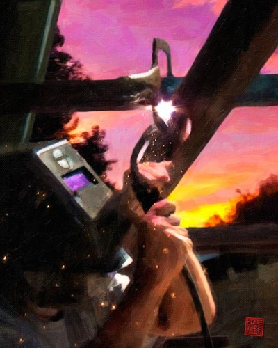 Kelly Robinson welding.